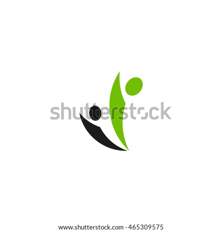 Isolated abstract green and black people vector logo. Human silhouette logotype. Minimalistic community illustration. Social network element.