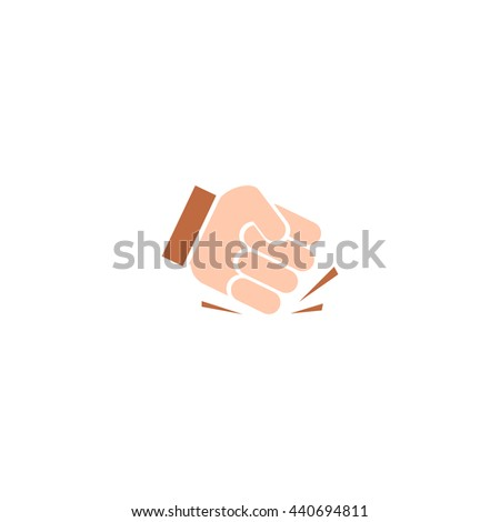 Isolated abstract pounding fist vector logo. Human hand illustration. Aggression sign. Protest symbol. - stock vector