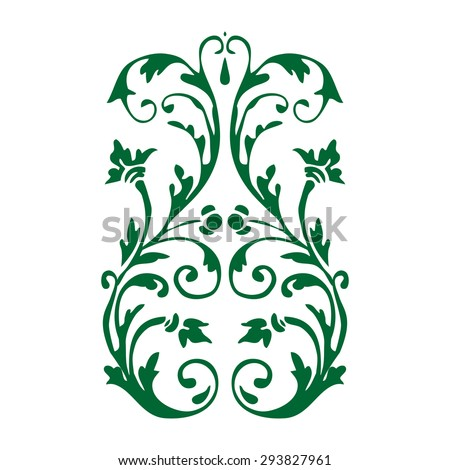 Isolated adornment decoration green floral white curl flower leaf vector curve symbol symmetric summer graphic decor element drawing card vertical shape wave scroll illustration artwork decorative  - stock vector