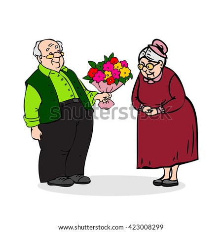 Isolated aged glasses two flowers white adult vector holiday symbol wife dressed grandfather celebration old people gift elder walk love family grandma recreation icon lady elderly illustration age - stock vector