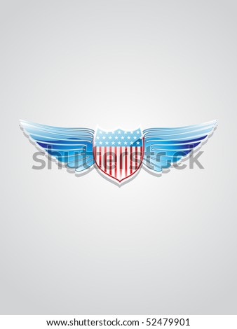 isolated american flag inlay on shield emblem with grey background - stock vector