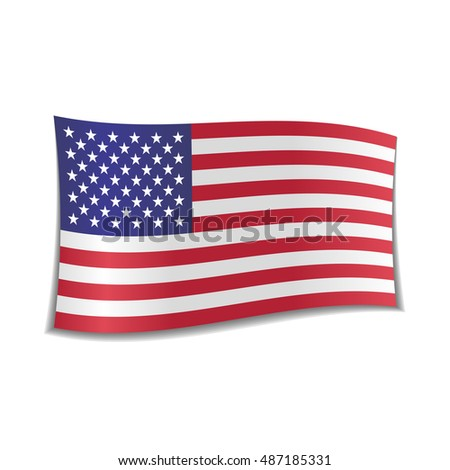 Isolated American flag, usa, waving. Vector illustration