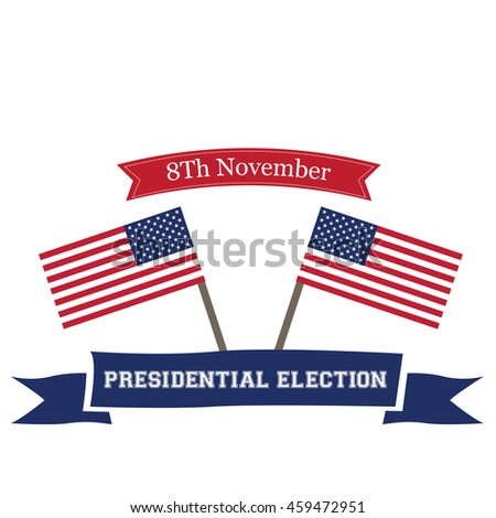 Isolated american flags with text, Election day, Vector illustration