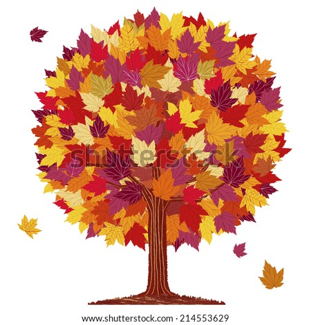 Isolated autumn red leaf ball tree on white background. - stock vector