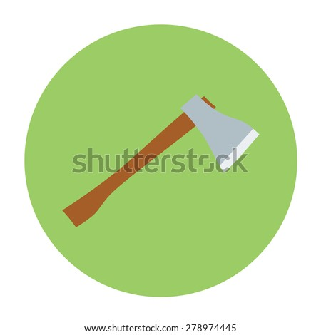 Isolated ax, axe, handle and metal blade vector illustration. Weapon object equipment tool icon. Sharp steel hatchet. - stock vector