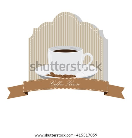 Isolated banner with a ribbon with text and a coffee mug