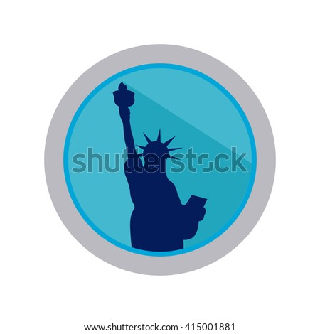 Isolated banner with a silhouette of the statue of liberty