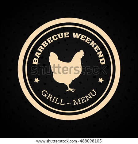Isolated barbecue label with a silhouette of a chicken, Vector illustration