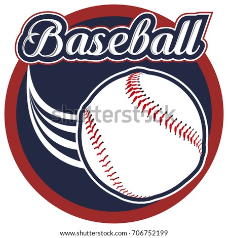 Isolated baseball emblem with a ball, Vector illustration