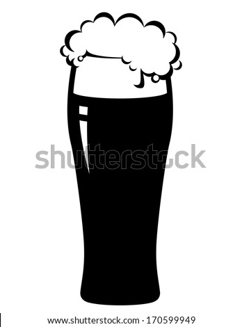 isolated beer glass on white background - stock vector