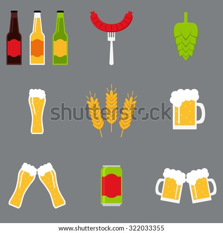 Isolated beer icons set. Beer icons collection. Beer glass, beer mug, beer bottle, beer can, malt, hop, sausage, clatter of glasses, clatter of mugs. Flat style vector illustration.  - stock vector