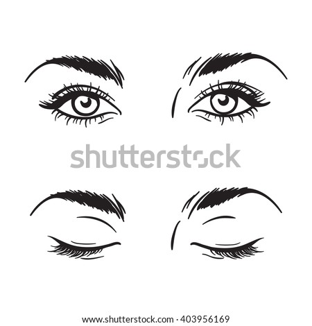 Isolated black and white beautiful female eyes set - open and closed. Makeup blank template vector illustration