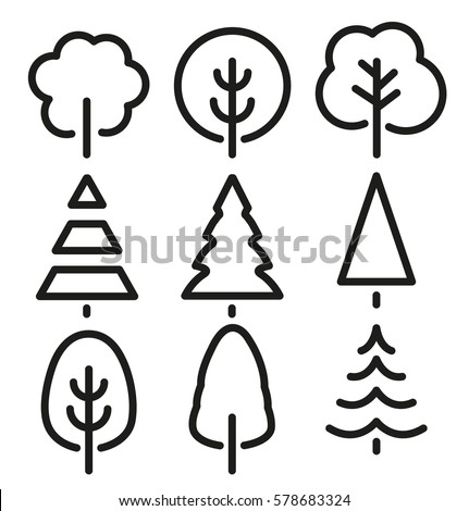 Isolated Black White Color Trees Lineart Stock Vector 578683324 ...
