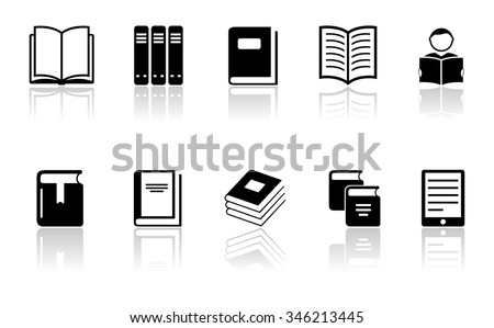 isolated black book icons set on white background - stock vector