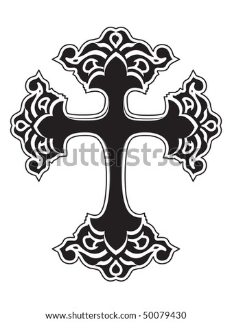 isolated black cross on white background, vector illustration - stock vector