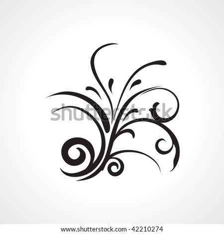 isolated black floral pattern on white background