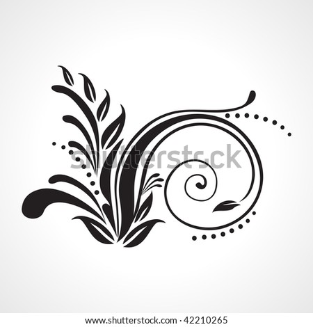 isolated black floral pattern tattoo on white background - stock vector