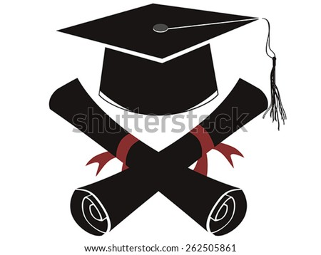 isolated black graduation cap and diploma - stock vector