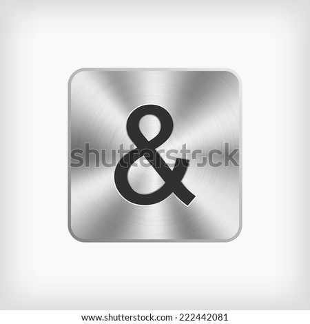 "isolated black modern english alphabet "" & "" letter in steel icon on white background(vector) - stock vector"