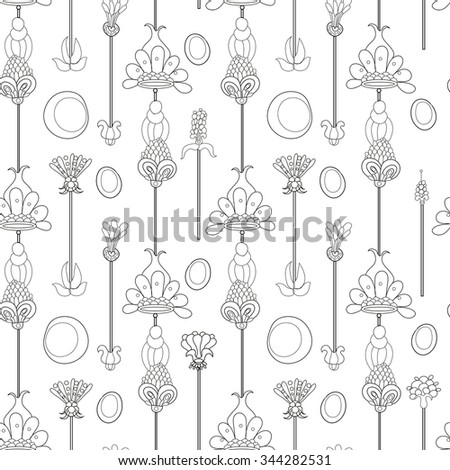 Isolated black on white seamless floral pattern. Pattern in retro stile. Background with decorative floral elements.