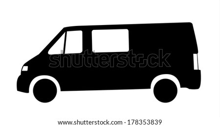 Isolated black silhouette of cargo car (van) - stock vector