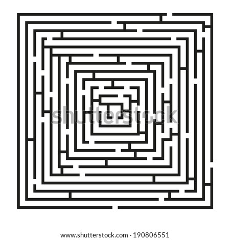 Isolated black square maze with solution included in eps in hidden layer - stock vector