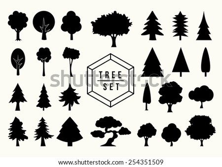 Isolated black Tree silhouettes icons set. Ideal for web icon, app design or book cover. EPS10 vector file. - stock vector