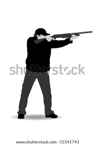 Isolated black white hunter silhouette vector illustration stock