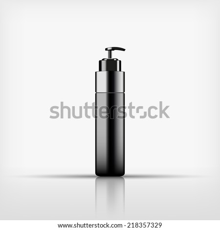 Isolated blank black cosmetic with black pump top bottle on white background (vector)  - stock vector