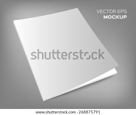 Isolated blank brochure or magazine mockup on grey background. Vector EPS 10 illustration. - stock vector