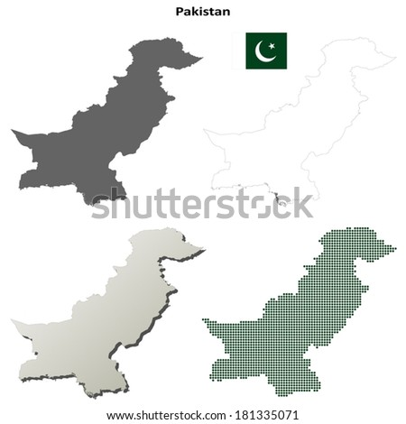 Isolated blank contour maps of Pakistan - vector version - stock vector