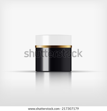 Isolated blank cosmetic black and white bottle with gold band on white background (vector)