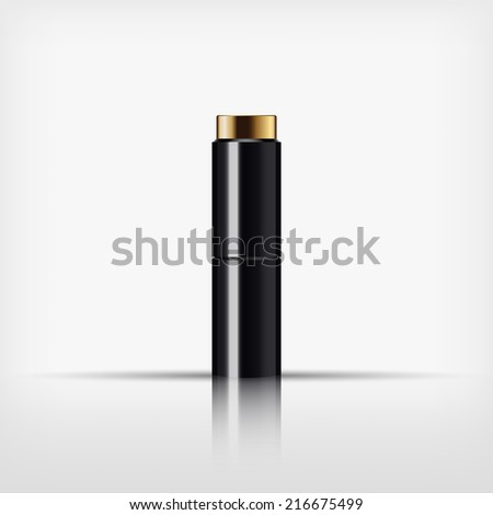 Isolated blank cosmetic black bottle with gold cap on white background (vector) - stock vector