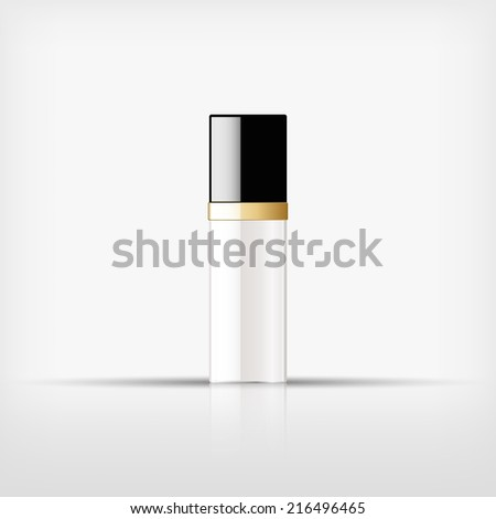 Isolated blank cosmetic glass bottle with gold band on white background (vector)  - stock vector