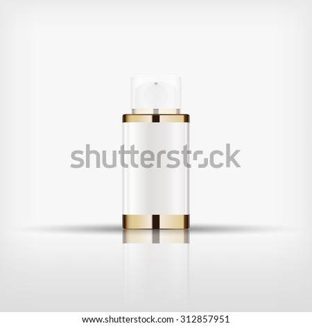 Isolated blank cosmetic gold bottle with Airless Pump cap on white background (vector)