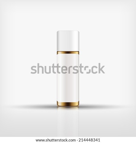 Isolated blank cosmetic gold bottle with white cap on white background (vector) - stock vector