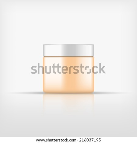 Isolated blank cosmetic orange bottle with white cap on white background (vector)  - stock vector