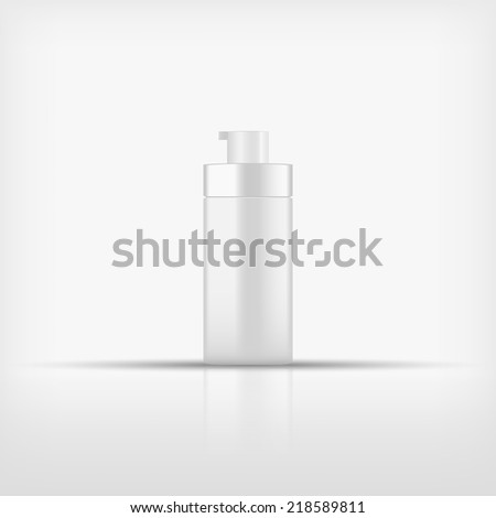 Isolated blank cosmetic pump top bottle on white background (vector) - stock vector