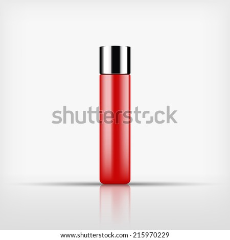 Isolated blank cosmetic red bottle with silver cap on white background (vector)  - stock vector