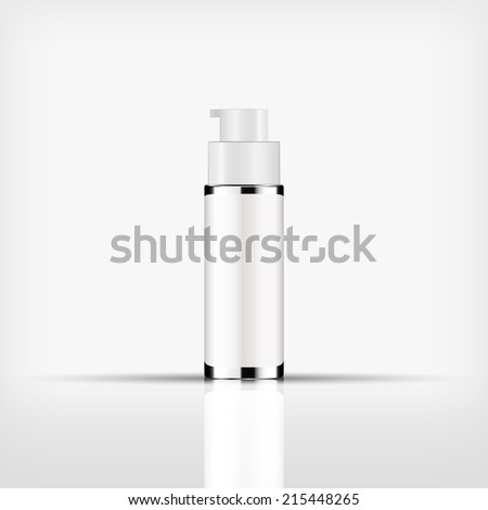 Isolated blank cosmetic silver pump top bottle with white cap on white background (vector)  - stock vector