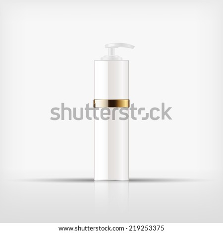 Isolated blank cosmetic white pump top bottle with gold band on white background (vector)  - stock vector