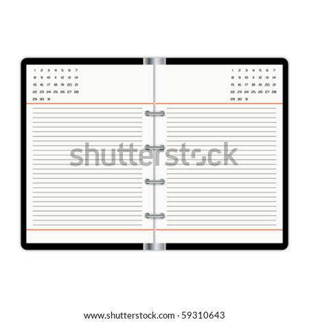 Isolated blank opened organizer - stock vector