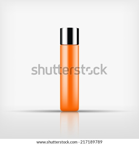 Isolated blank orange cosmetic bottle with silver cap on white background (vector)