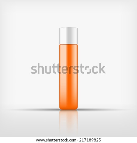 Isolated blank orange cosmetic bottle with white cap on white background (vector)
