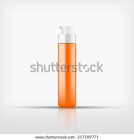 Isolated blank orange cosmetic pump top bottle on white background (vector) - stock vector