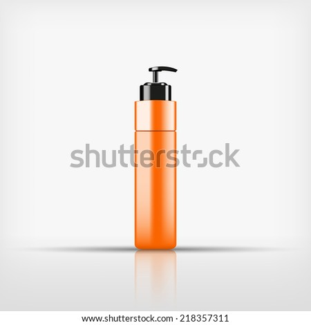 Isolated blank orange cosmetic with black pump top bottle on white background (vector)