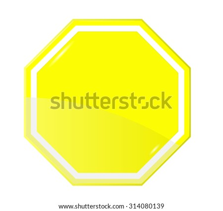 Isolated Blank Yellow Sign, Vector - stock vector