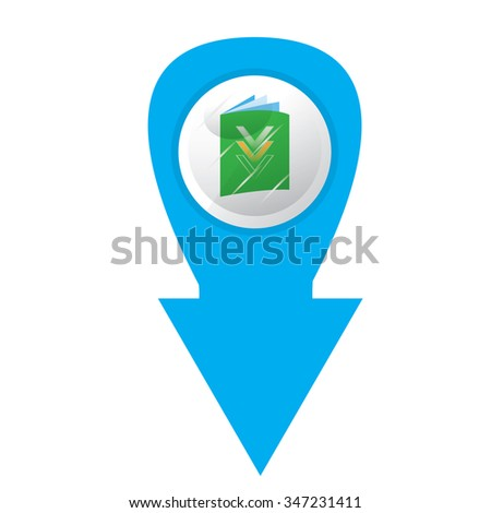 Isolated blue arrow with an e-book icon on a white background - stock vector