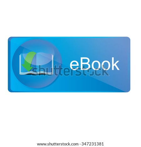 Isolated blue badge with text and an e-book icon - stock vector