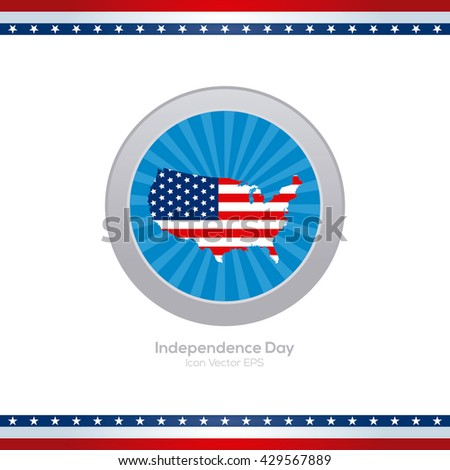 Isolated blue banner with an american map for independence day celebrations - stock vector